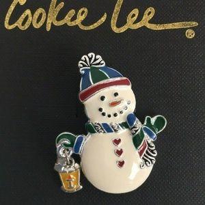 Cookie Lee Vintage Enamel 6 Snowman Pins